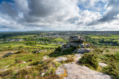 Carn Brea in Cornwall. The view from Carn Brea looking out over the town of Redruth in Cornwall Stock Photo