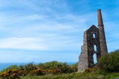 Carn Galver Tin Mine. Steam pumping engine house of Carn Galver tin mine in Cornwall. Other names Wheal Rose, Rosemergy royalty free stock photography