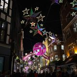Carnaby Christmas Party. London, United Kingdom – December 3, 2015: Christmas decoration at Carnaby Street Carnaby Christmas Party stock images