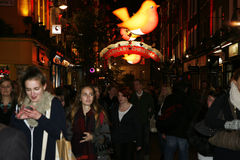 2013, Carnaby Street with Christmas Decoration Royalty Free Stock Photos