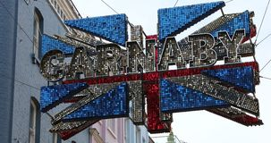 Carnaby Street London Union Jack 3D Flag stock footage