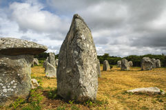 Carnac (Brittany, France): menhir and dolmen Stock Image