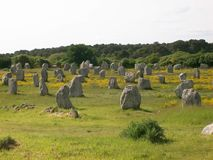Carnac in France. The menhirs of Carnac in Britain in France Stock Images