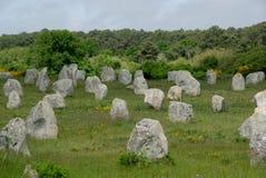 Carnac Neolithische Menhirs Stock Afbeelding