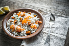 Carnaroli rice with seafood Royalty Free Stock Images