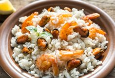 Carnaroli rice with seafood Royalty Free Stock Photos