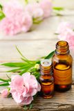 Carnation absolute essential oil and pink flowers on the wooden table. Carnation absolute essential oil and pink flowers on the wooden board Stock Image