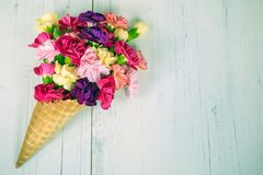Carnation bouquet in waffle cone Stock Image