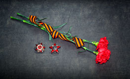 Carnation flowers, George Ribbon, Order of the Red Star Royalty Free Stock Photography
