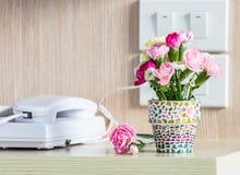 Carnation in mosaic flower pot Stock Photos