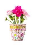 Carnation in mosaic flower pot Stock Image