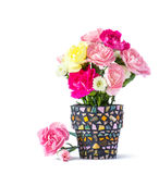 Carnation in mosaic flower pot Royalty Free Stock Photo