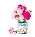 Carnation in mosaic flower pot Stock Photography