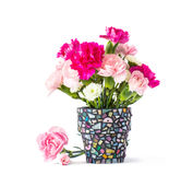 Carnation in mosaic flower pot Royalty Free Stock Photography