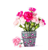 Carnation in mosaic flower pot Royalty Free Stock Image