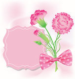 Carnation with pink card for Mothers Day Royalty Free Stock Images