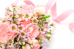 Carnation and pink ribbon Stock Image