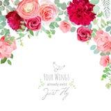 Carnation, rose, ranunculus, dahlia, pink and burgundy red flowe stock illustration