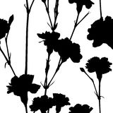 Carnation silhouettes pattern Royalty Free Stock Photos