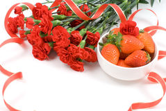 Carnation and Strawberry Stock Images