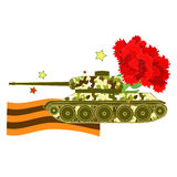 Carnation Tank Defender of the Fatherland Day. vector illustrati. Carnation Tank Defender of the Fatherland Day vector illustration royalty free illustration