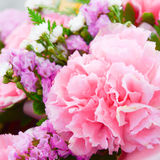 carnations in the basket with the morning light. Stock Photo