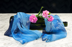 Carnations with a bottle and a blue scarf Royalty Free Stock Image