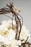 Carnations and orchid phalaenopsis in basket Stock Photo