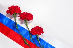 Carnations on Russian flag Stock Images