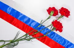 Carnations on Russian flag Royalty Free Stock Photos