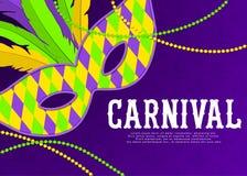 Carnaval-achtergrond met masker en veren Mooie maskeradeontwerpsjabloon voor affiche, groetkaart, partij stock illustratie