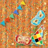 Carnaval-achtergrond met slinger, maskers en hoed Stock Afbeelding