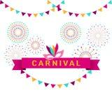 Carnaval-affiche, banner met kleurrijke partijelementen - vuurwerk royalty-vrije illustratie