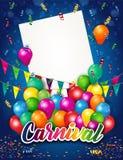 Carnaval avec le lettrage et le ballon et le billet Photo stock
