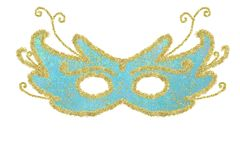 Carnaval-blauw oogmasker en geïsoleerd goud Stock Foto's