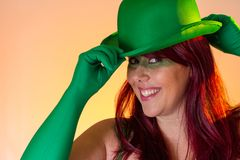Carnaval Brazil. Face of brazilian red hair girl wearing green makeup mask. Colorful background. Carnival concept, fun and party. Carnaval Brazil. Happiness and royalty free stock photos