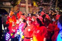 Carnaval chez l'Espagne dans le temps de soirée Badalona Photos stock
