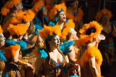 Carnaval chez l'Espagne dans le temps de soirée Sitges, Catalogne Photographie stock