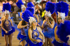 Carnaval chez Sitges dans la soirée Photographie stock
