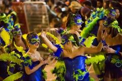 Carnaval chez Sitges dans le temps de soirée catalonia Images stock