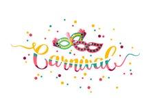 Carnaval colorido da rotulação da mão com máscaras ilustração do vetor