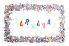 Carnaval confetti frame - Portuguese(Br) Stock Images