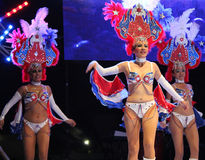 Carnaval 25. Dancers performing on stage at a carnaval in Playa del Carmen, Mexico Stock Photo