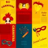 Carnaval-de affiche van de pictogrammensamenstelling Stock Foto's