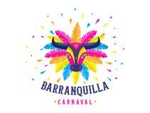 Carnaval de Barranquilla, colombianskt karnevalparti Vektorillustration, affisch och reklamblad stock illustrationer