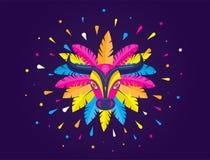 Carnaval de Barranquilla, Kolumbijski karnawału przyjęcie Wektorowa ilustracja, plakat i ulotka, zdjęcie stock