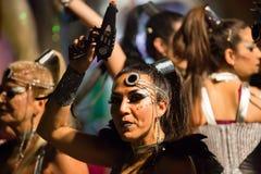 Carnaval de F chez Sitges dans le temps de soirée l'espagne Photo stock