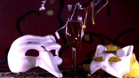Carnaval in de langzame motie van Venetië stock video