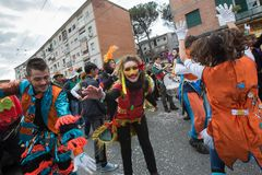 Carnaval de NAPLES SCAMPIA Gridas Photographie stock