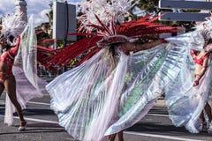 Carnaval de Niza, batalla del ` de las flores Bailarines de la samba Imagenes de archivo
